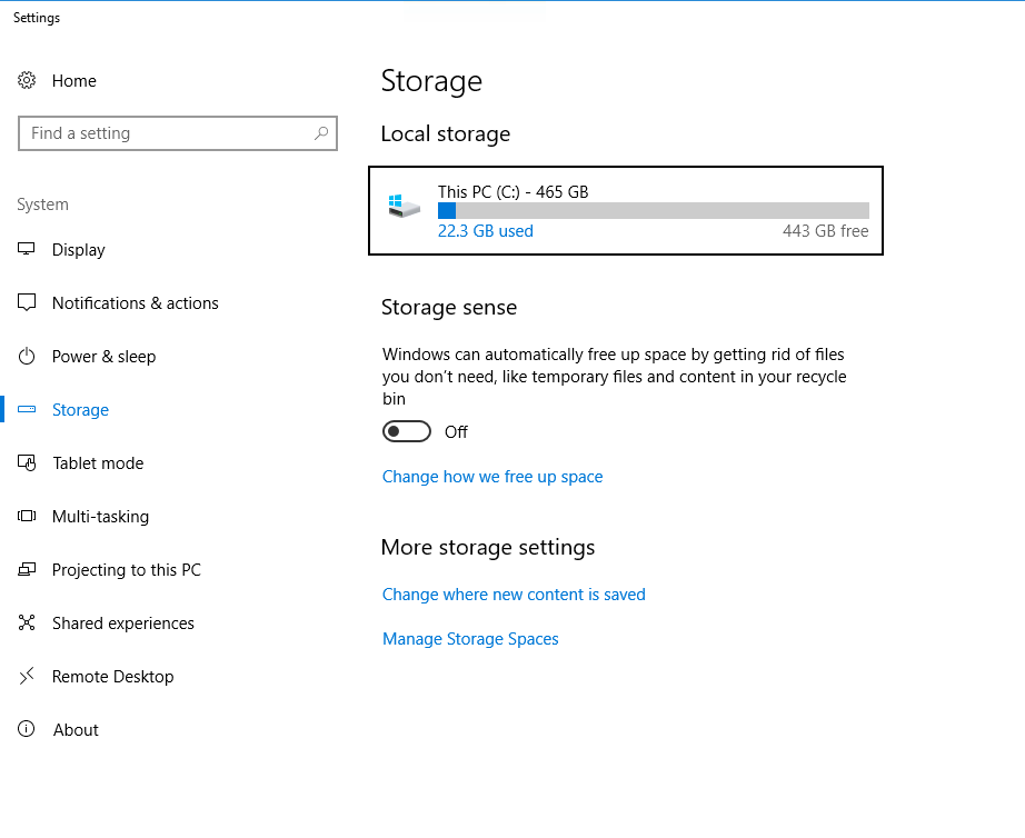 Windows 10 1709 trashcan free storage 1